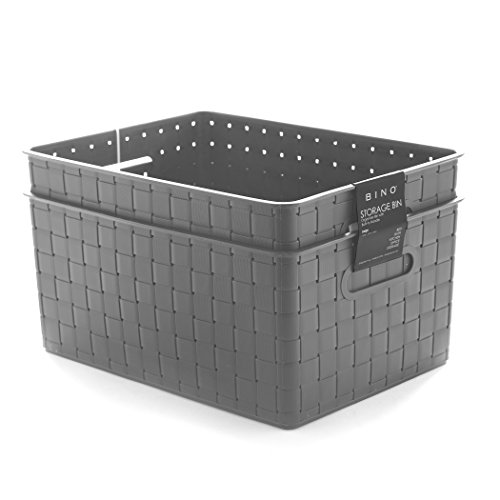 BINO Woven Plastic Storage Basket, Large – 2 PACK (Grey) (Plastic Box Storage Large)