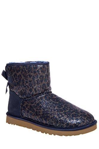 UGG Women's Mini Bailey Bow Glitter Boots, Navy, 8 ()