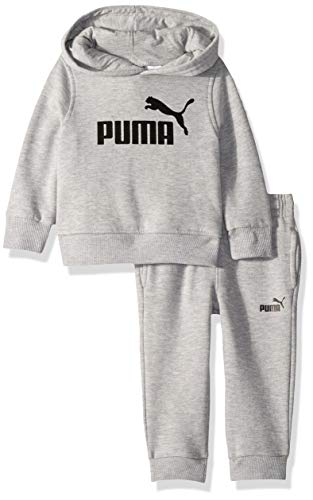 PUMA Baby Boys Fleece Hoodie Set, Light Heather Grey 24M