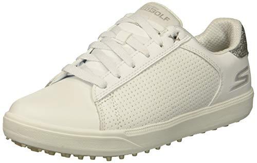 Skechers Women's Drive 4 Spikeless Waterproof Golf Shoe, White/Silver, 5.5 M US