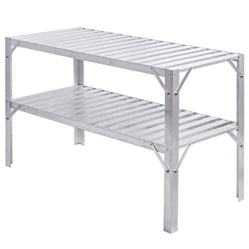 Heavy Duty Aluminum Garden Workbench Storage Shelf 2 Tier Design Greenhouse Shelves Flowers Potting Tools Versatile Multifunction Table Perfect For Balcony Patio Deck Backyard Use Lightweight Durable by HPW