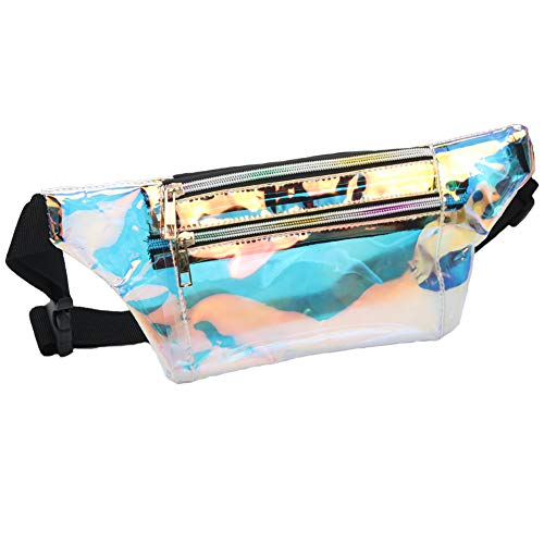 Mum's memory Clear Fanny Pack for Women - Waterproof Transparent Men Waist Pack NFL & PGA & NCAA Stadium Approved Clear Bag (B Clear Gold)