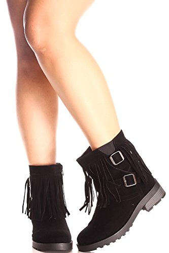 Forever Link SUEDE MATERIAL BUCKLE STRAPS SIDE ZIPPER TOP FRINGE ACCENT CASUAL BOOTS