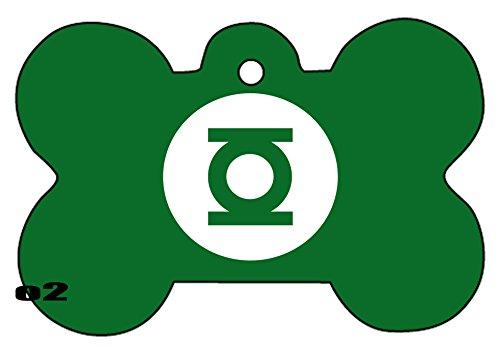 Green Lantern Lights Hal Art Logo Dog Pet Cat ID Tag Bone Shape Image PhotoPersonalized with Key Ring - Tag Lantern