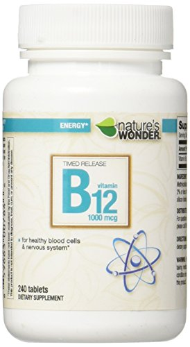 Nature's Wonder Timed Release B12 1000mcg Tablets, 240 Count