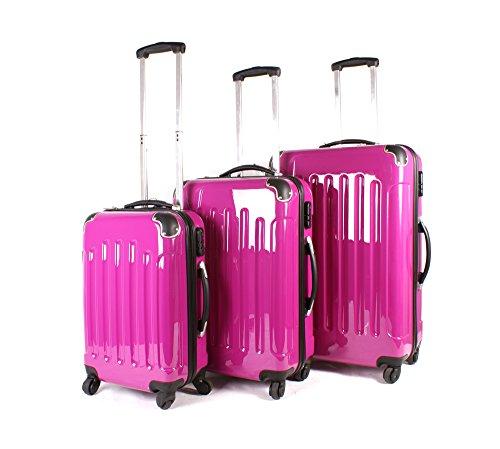 Hot Pink Aero Viaje 1100Series London Collection Set de 3maletas–360° 4ruedas Bolsa de viaje equipaje–Juego de carcasa rígida ABS PC Lámina