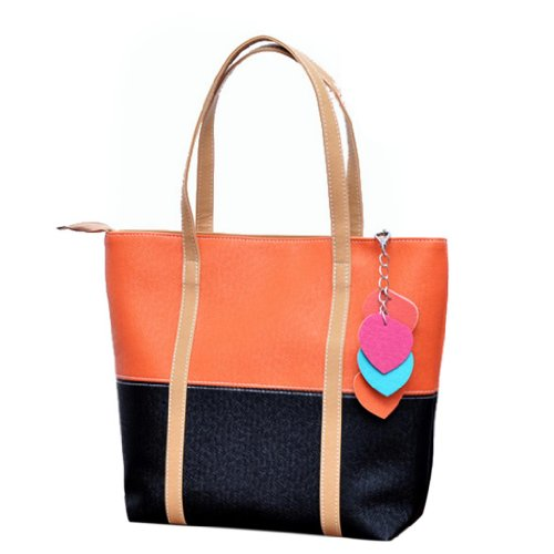 Femmes Couleur Doux Totes Sac Elegent Grand Hee Orange Main Chaine Melangee 5BwIp5q