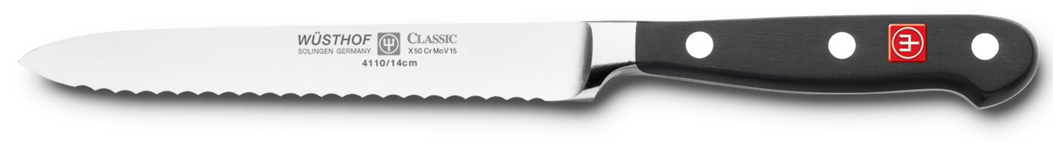 Wusthof Classic 4110 Serrated Utility Knife (Sausage knife ) 14 cm 5''