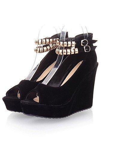 LFNLYX Zapatos de mujer-Tacón Cuña-Cuñas-Sandalias-Exterior / Casual-Semicuero-Negro / Rojo Red