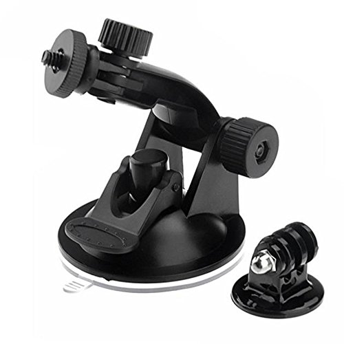 OWIKAR Gopro Accessories Car Holder Suction Cup Super Strong Suction Mount Angle Adjustable With Tripod Adapter for Gopro Hero 4 3+ 3 2 1 HD SJCAM SJ4000 Xiaomi Yi Action Cameras, Black