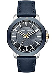 Armani Exchange Mens Quartz Stainless Steel and Leather Casual Watch, Color:Blue (Model: AX1905)