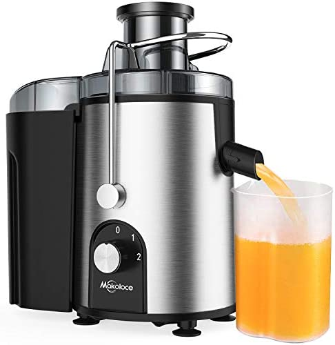 "Juicer Machines, Juicers Best Sellers Easy to Clean, Centrifugal Juicers Machine Vegetable and Fruit Juice Extractor, Small Electric Juicer, Juice Press Maker with 2.4"" Wide Feed Chute, Makoloce 600W Stainless Steel Juicer with Brush, BPA Free"