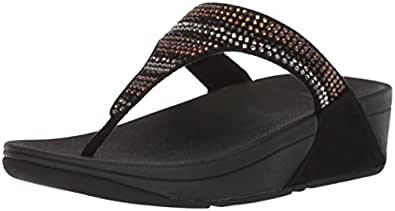 FitFlop Womens - Strobe Luxe Toe-Thong Sandals Black Size: 5