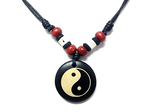 Yin Yang Bone Pendant Necklace Handmade Hawaiian Style Beach Boy Men Adjustable