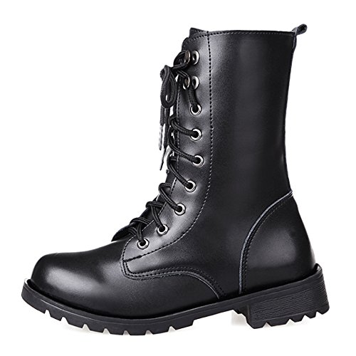 Combat boots Women's,Martin Rivets booties,Lace Up Military Mid-Calf boots, cosplay boots