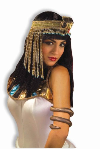 Forum Novelties Women's Egyptian Costume Accessory Asp Snake Beaded Headpiece, Gold, One (Egyptian Man Adult Wig)