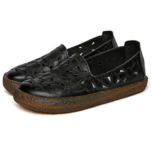 black Minibee Shoes On Leather Round Slip Toe Floral Women's Loafers Style2 Flat New q6v7xr4pqw