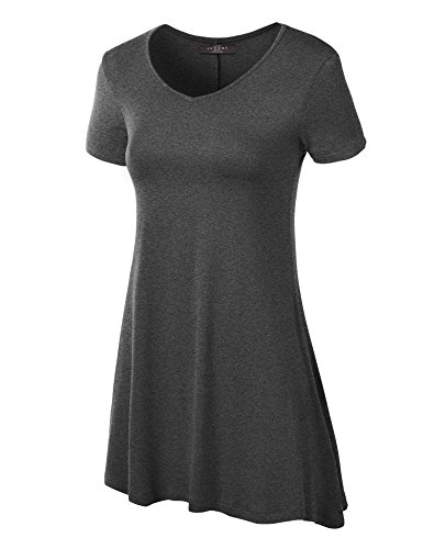 - Made By Johnny WT769 Womens V Neck Trapeze Tunic XL Heather_Charcoal
