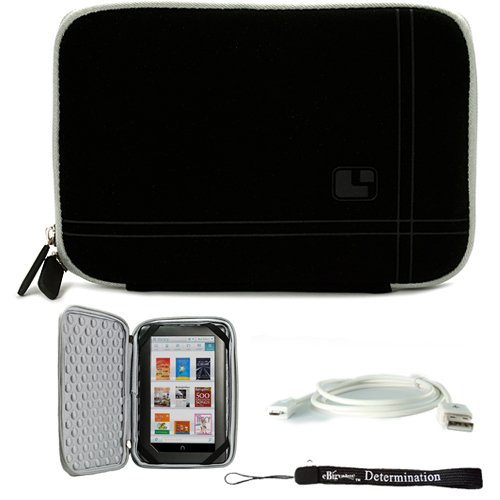 Grey Black Limited Edition Stylish Sleeve Premium Cover Case with Aerotechnology Protection and with front pocket for accessories For Barnes & Noble NOOK COLOR eBook Reader Tablet + Includes a eBigValue (TM) Determination Hand Strap + Includes a USB Data  by eBigValue