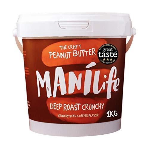 ManiLife 땅콩 버터 - 땅콩 버터 - 물론 모든, 성장 지역, 아니 추가 설탕, 아니 팜 오일 - 깊은 로스트 사각 사각 - (1 개 1kg)