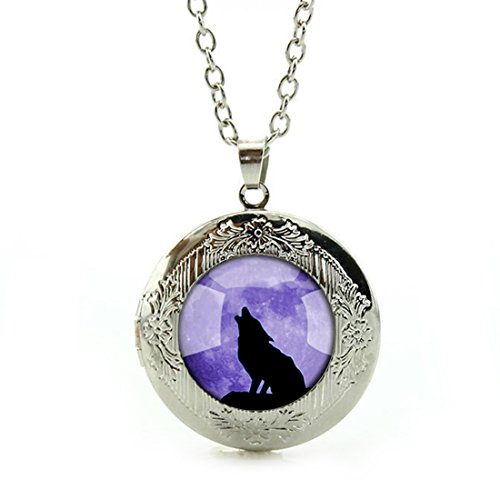 Purple Wolf - Women's Custom Locket Closure Pendant Necklace Purple Cool Wolf Included Free Silver Chain, Best Gift Set
