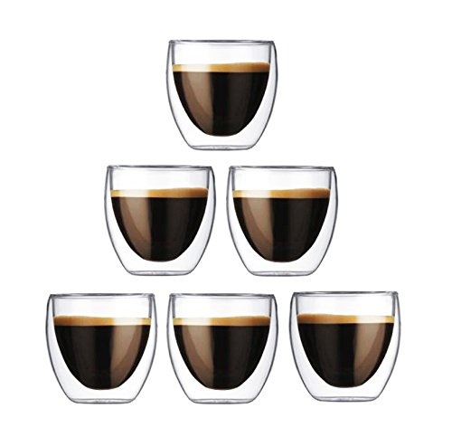 Happy Sales Set of 6 Double Wall Insulated Glass Teacup Coffee cups Tumblers 6 oz, Clear