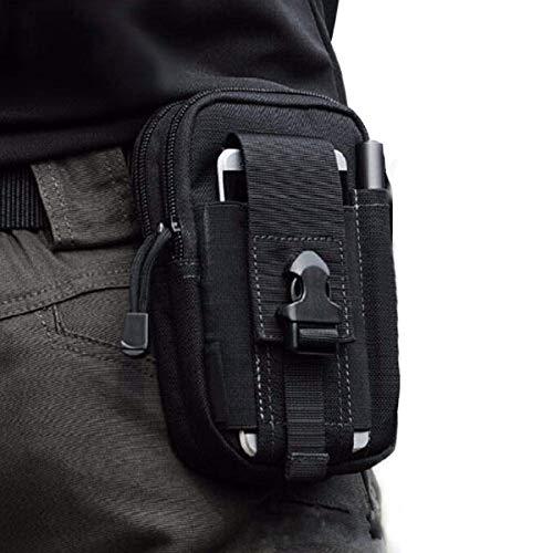 CoWalkers Bolsa de cintura táctica para exteriores, portaherramientas de polietileno multiusos Bolsa EDC Bolsa de camuflaje Nylon militar Utilidad táctica Paquete de cintura Camping Senderismo Bolsa (Negro)