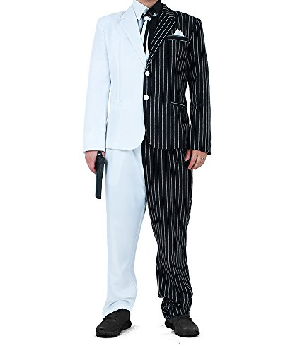 Black And White Two-face Costume (Miccostumes Two-Face Cosplay Suit Costume With Tie and Fake Collar (ML))