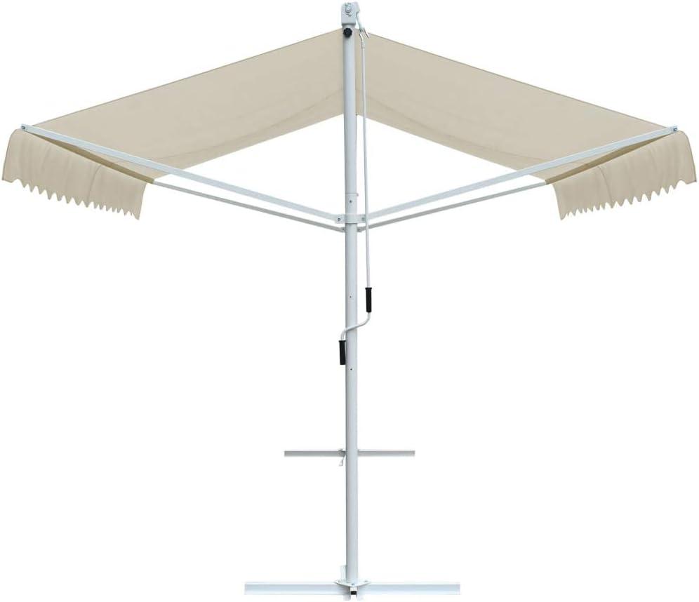 vidaXL Free Standing Awning Weather UV Resistant Garden Outdoor Backyard Patio Sunshade Canopy 157.5 Cream