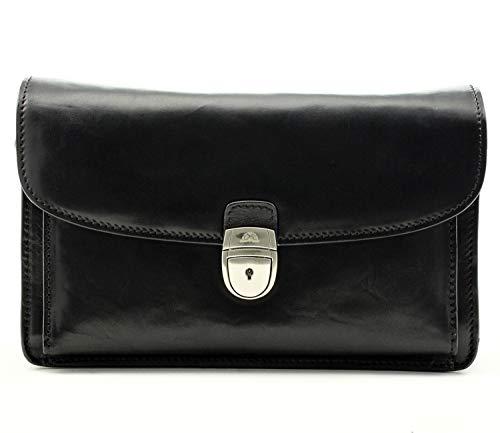 Tony Perotti Italian Bull Leather Horizontal Compact Mini Briefcase Bag with Wristlet Strap