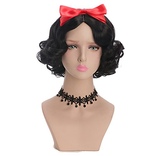 Snow White Wigs (Yuehong Black Short Curly Wig Cosplay Wig Synthetic Halloween Anime Cosplay Party Wigs With Bow)