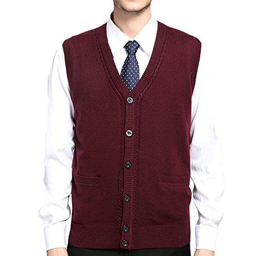 Button Front Sweater Vest (MAGE MALE Men'/s Sweaters Vest Casual Business Slim Fit V Neck Knit Button-Front Sleeveless Vest Wine Red X-Small)