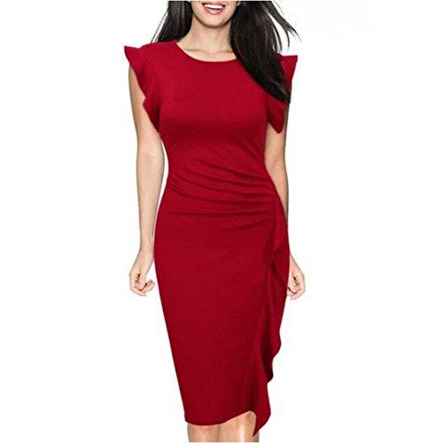 para Mujer con Vestidos la Rodilla Manga Volantes Oficina Yuxin Noche Cóctel Trabajo Ajustado Rojo Sólido de Hasta con Vestidos Fiesta Vestido de Escote O Corta Vestido Color rBqHr