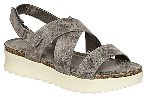 MVE Shoes Women's Stylish Soft and Comfortable Open Toe Strappy Adjustable Strap Platformed Sandals, Code-1 Pewter -