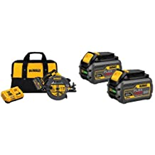 DEWALT DCS575T1 Flexvolt 60V Max Brushless Circular Saw with Brake and 1 Battery Kit, 7-1/4-Inch & DEWALT DCB606-2 20/60V Max Flexvolt 6.0 Ah Battery Dual Pack