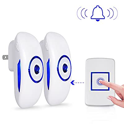 Boomile Wireless Doorbell for Home Office with 2 Plug-In Receivers and 1 Remote Push Button Operating at 1000 feet Range