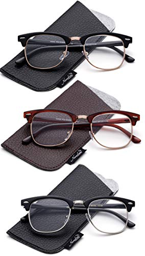 Fashion Half Rim Reading Glasses for Men Retro Vintage Reading Glasses Horn Rimmed Half Frame Reading Glasses ()