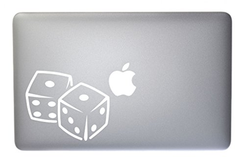 (Gambling Snake Eyes Dice Vinyl Decal for Macbook, Laptop or other device 5 Inch (white))