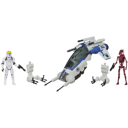 Star Wars 501st Legion Attack Dropship Vehicle with Clone Pilot and Battle Droid Figures ()