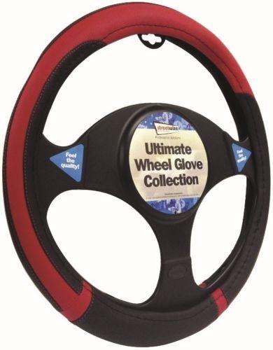 Peugeot 607 Black & Red Steering Wheel Cover Glove 37cm: