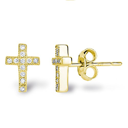 14k Yellow Gold Plated Sterling Silver Cubic Zirconia Classic Mini Cross Stud Earrings