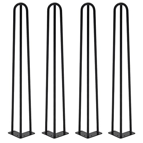 Jewett Cameron Jcp 12804 Heavy Duty Hairpin Industrial Style Mid Century Modern Table Legs Set Of 4  Powder Coat Finish   Black