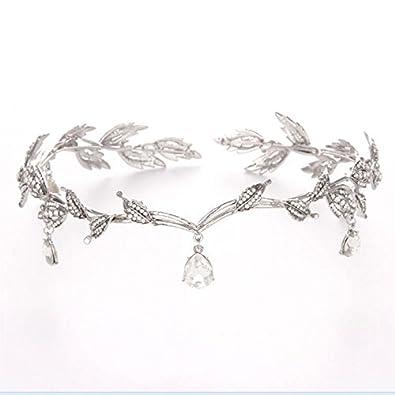 SODIAL Vintage Crystal Bridal Hair Accessory Wedding Imitation Rhinestone Waterdrop Leaf Tiara Crown Headband Frontlet Bridesmaid Hair Jewelry Silver 54139A1