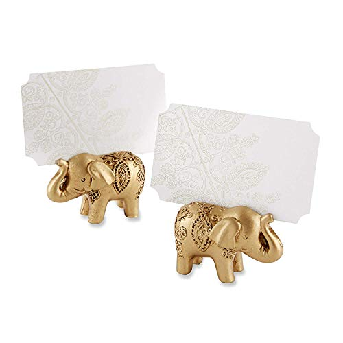 (Kate Aspen 168 Antique Gold Resin Finish with Embossed Decorative Detail Lucky Elephant Place Card Holder Wedding Thank-You Gifts Baby Bridal Shower Table Décor Decorations Party Souvenir Favors)