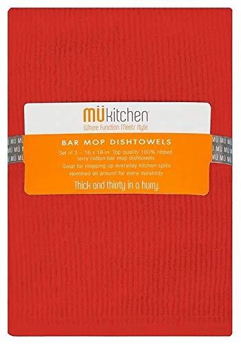 (MUkitchen Bar Mop Towels - 3 pcs - Crimson)