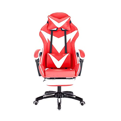 Bseack Gaming Chair, Reclining Armchair with Footrest Ergonomic Design Elevating Rotary Household Computer Chair with Headrest and Massage Lumbar Pillow (Color : Red White)