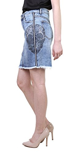 cráneo Talla Falda Casual deshilachada Corta Tejana lápiz L Fashion con Azul Minifalda 7wqv7UxTz