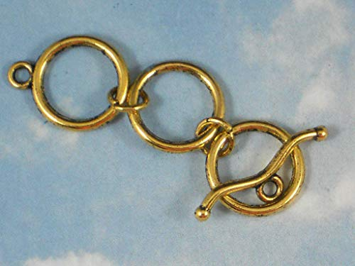 5 Sets Extender Toggle Clasps 3 Round Rings Antiqued Gold Tone Closures #ID-13