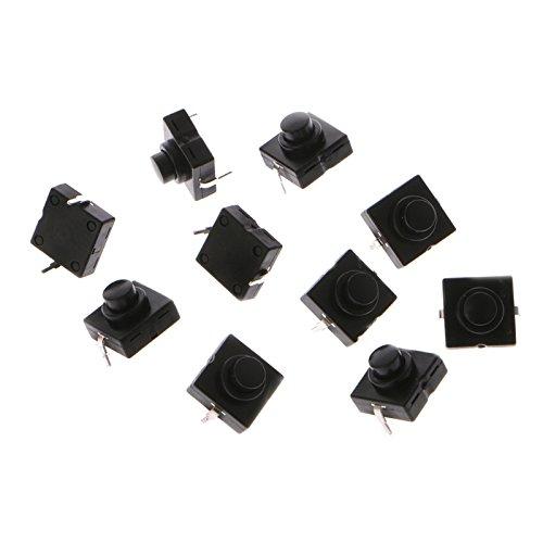 UTP 10 Pcs Flashlight Switch Button 1A 30V 2Pin CB-1212-112D Ultra-Thin Medium Feet L15 ()