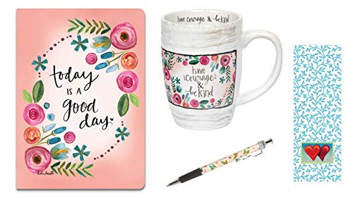 - Have Courage Mug, Today Is A Good Day Journal, Floral Ink Pen with Bookmark Bundle